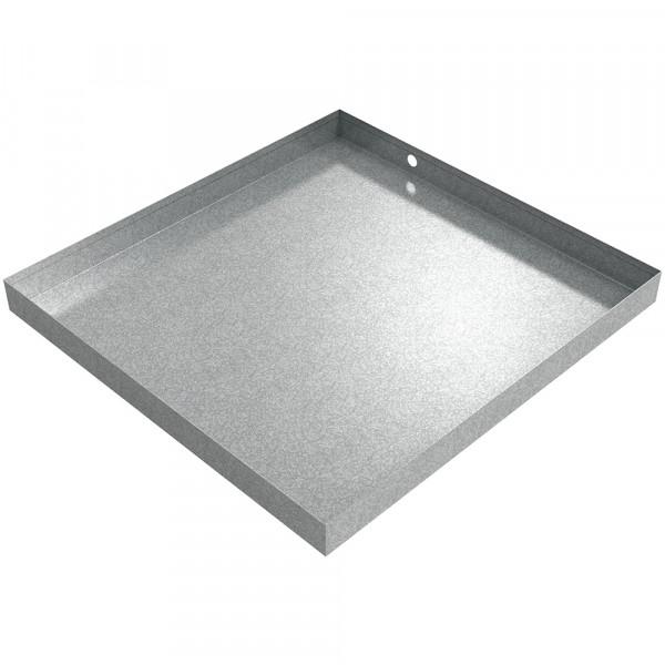 "Ice Maker Drain Pan - 24"" x 23"" x 2"" - Galvanized Steel"