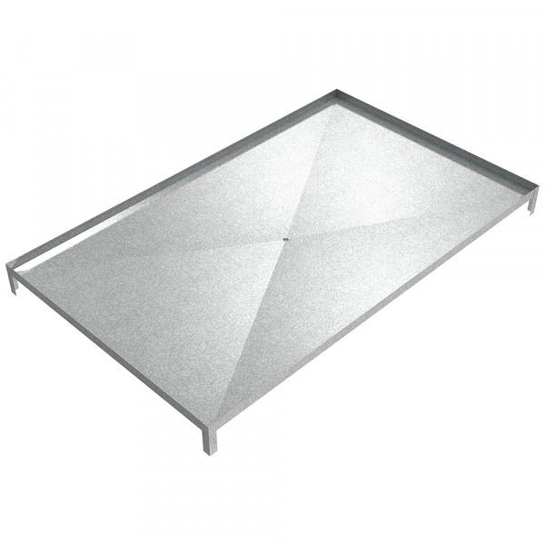 "Sloped Bottom Drain Pan with legs - 85"" x 52"" x 6.5"" - Galvanized Steel"