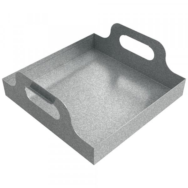 "Handled Drip Pan - 12"" x 12"" x 2"" - Galvanized Steel"