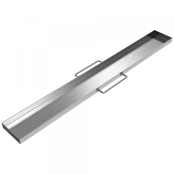 "Handled Catheter Drip Pan - 34"" x 4"" x 1"" - Stainless Steel"