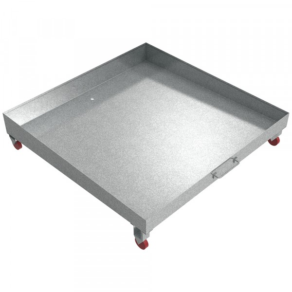 "Sloped Rolling Drain Pain - 48"" x 48"" x 6"" - Galvanized Steel"