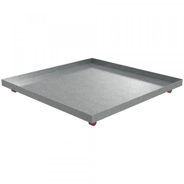 "Rolling Drip Pan - 48.25"" x 48.25"" x 2.5"" - Galvanized Steel"