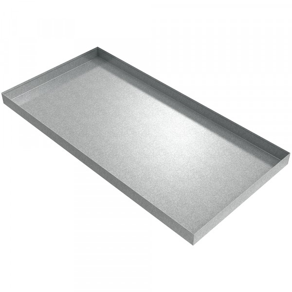 "Rectangular HVAC Drip Pan - 48"" x 24"" x 2.5"" - Galvanized Steel"