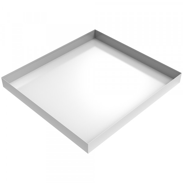 "Bargain White Compact Washer Floor Tray - 27"" x 25"" x 2.5"" - Steel"