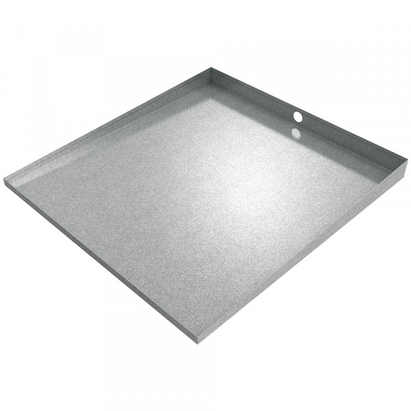 """Bargain Front-Load Washer Floor Tray with Drain - 32"""" x 30"""" - Galvanized Steel"""