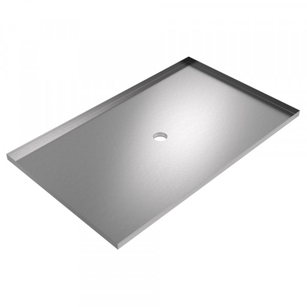 Drain Pan with Nipple - 72 x 44 x 2 - Stainless