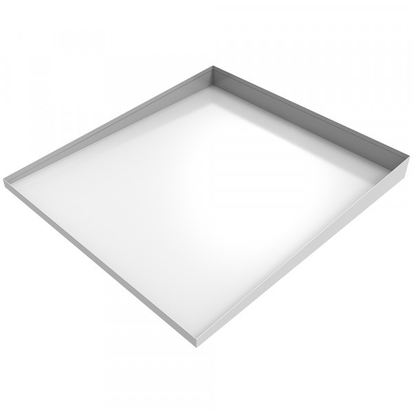 """White Compact Front Load Washer Floor Tray - 25"""" L x 27"""" W x 1-2.5"""" H - Steel"""
