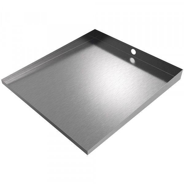 """Compact Front-Load Washer Floor Tray with Drain - 27"""" x 25"""" - Stainless Steel"""