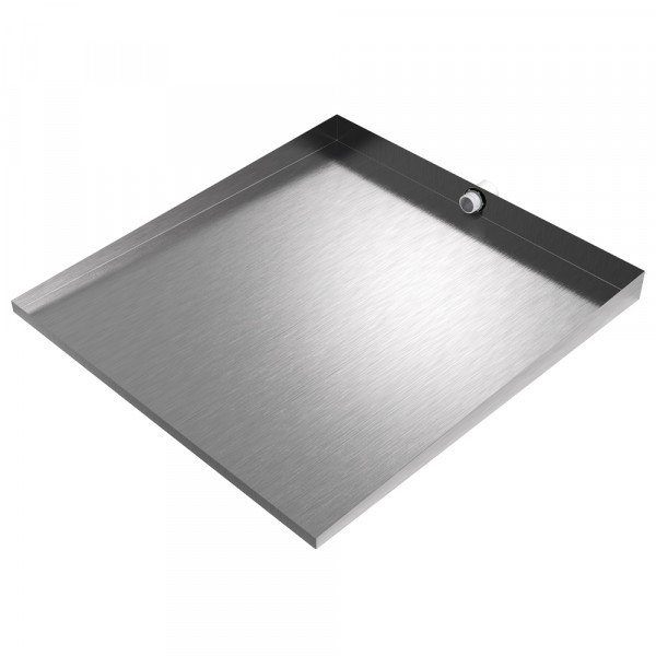 """Front-Load Washer Floor Tray with Drain - 32"""" x 30"""" - Stainless Steel"""