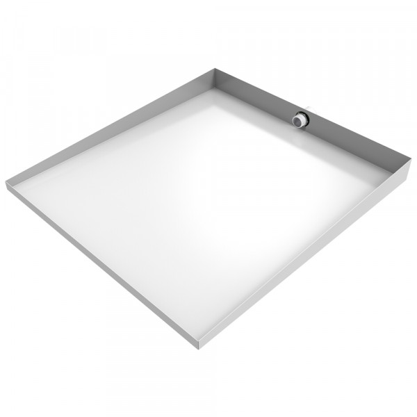 "White Compact Front-Load Floor Tray with Drain - 27"" x 25"" - Steel"