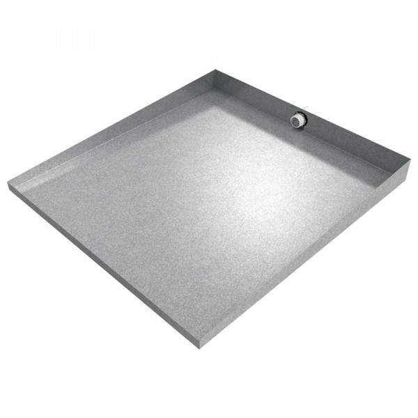 "Compact Front-Load Drain Pan - 27"" x 25"" - Galvanized"