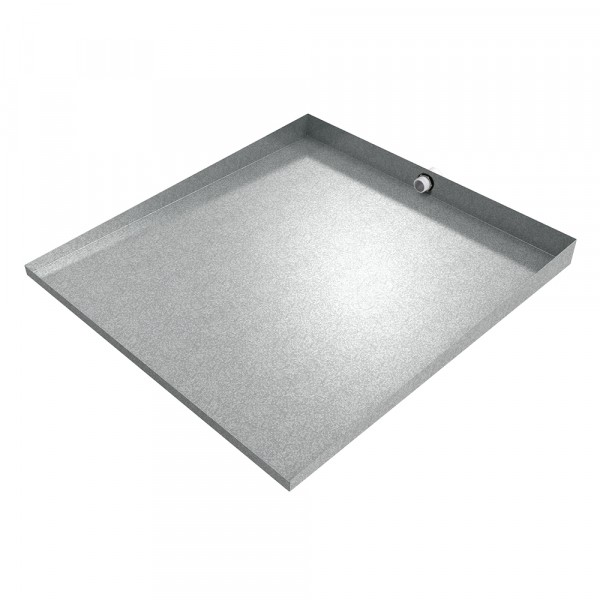 """Front-Load Washer Floor Tray with Drain - 32"""" x 30"""" - Galvanized Steel"""