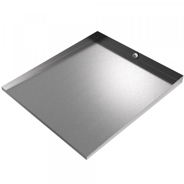 """Front-Load Washer Floor Tray with Drain - 36"""" x 32"""" - Stainless Steel"""